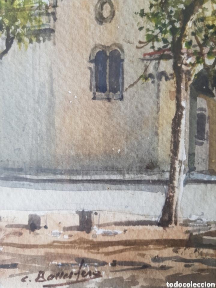 Arte: Carlos Ballestero Alcon (1942) - Santuario de la Salut,Sabadell.Acuarela.Firmada. - Foto 9 - 176410172
