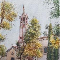 Arte: CARLOS BALLESTERO ALCON (1942) - SANTUARIO DE LA SALUT,SABADELL.ACUARELA.FIRMADA.. Lote 176410172