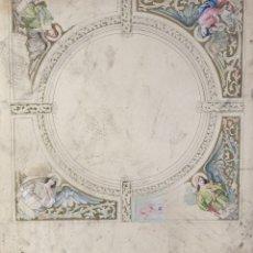 Arte: GOUACHE SOBRE PAPEL ESTUDIO DE FRESCO ÁNGELES PRINCIPIOS SIGLO XX. Lote 177649270