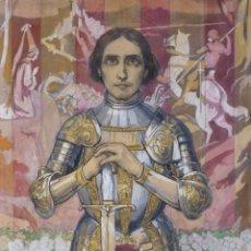 Arte: ACUARELA SOBRE PAPEL PEGADO A CARTULINA SAN JORGE PRINCIPIOS SIGLO XX. Lote 177649277