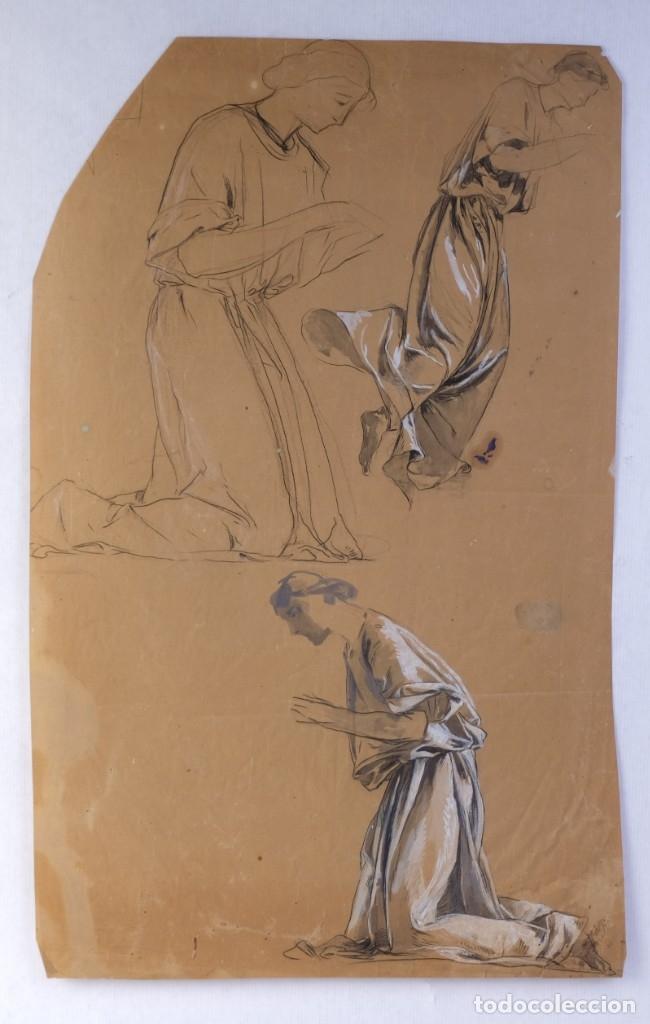 GOUACHE Y CARBONCILLO SOBRE PAPEL ESTUDIO DE MUJER ORANDO PRIMER TERCIO SIGLO XX (Arte - Acuarelas - Contemporáneas siglo XX)