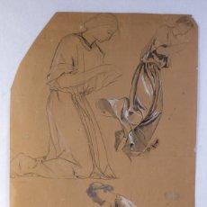 Arte: GOUACHE Y CARBONCILLO SOBRE PAPEL ESTUDIO DE MUJER ORANDO PRIMER TERCIO SIGLO XX. Lote 177650082