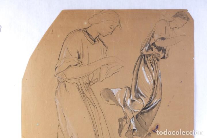 Arte: Gouache y carboncillo sobre papel Estudio de mujer orando primer tercio siglo XX - Foto 2 - 177650082