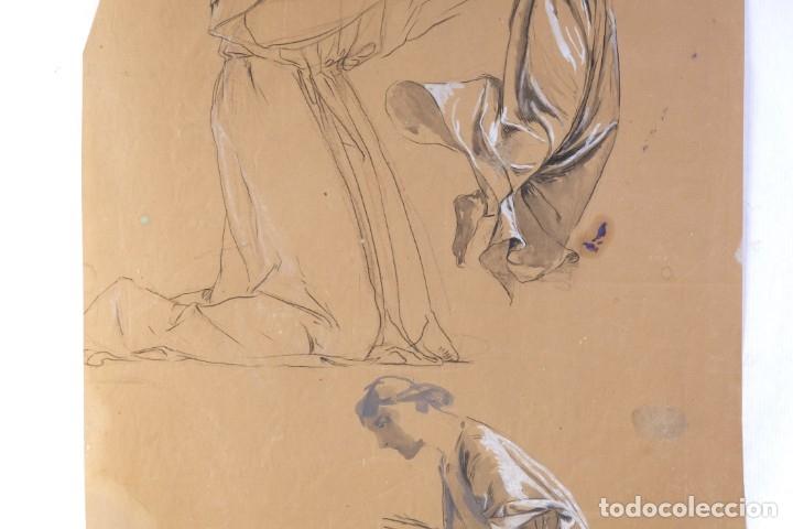 Arte: Gouache y carboncillo sobre papel Estudio de mujer orando primer tercio siglo XX - Foto 3 - 177650082
