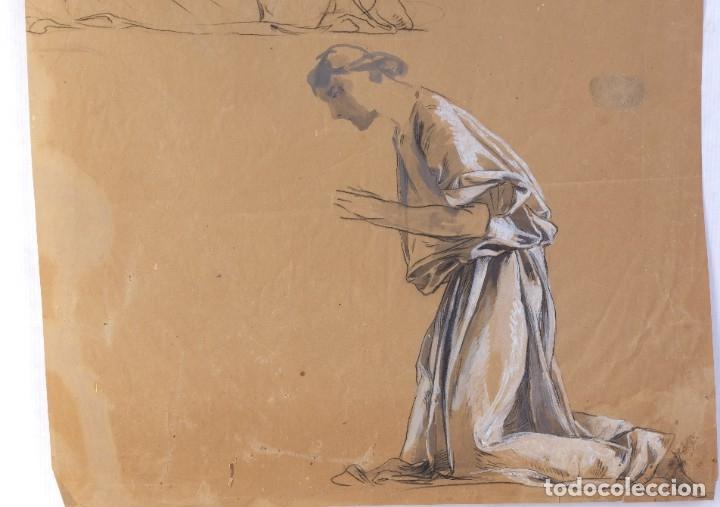 Arte: Gouache y carboncillo sobre papel Estudio de mujer orando primer tercio siglo XX - Foto 4 - 177650082