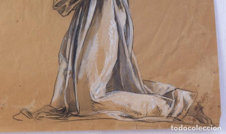 Arte: Gouache y carboncillo sobre papel Estudio de mujer orando primer tercio siglo XX - Foto 5 - 177650082