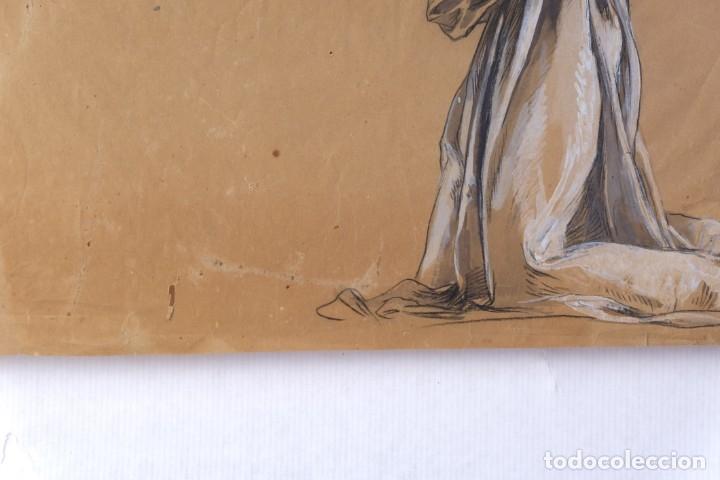 Arte: Gouache y carboncillo sobre papel Estudio de mujer orando primer tercio siglo XX - Foto 6 - 177650082