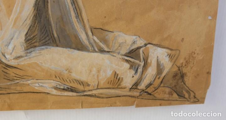Arte: Gouache y carboncillo sobre papel Estudio de mujer orando primer tercio siglo XX - Foto 7 - 177650082