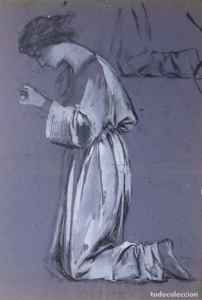 GOUACHE SOBRE PAPEL MUJER ORANDO PRINCIPIOS PRIMER TERCIO SIGLO XX (Arte - Acuarelas - Contemporáneas siglo XX)