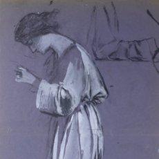Arte: GOUACHE SOBRE PAPEL MUJER ORANDO PRINCIPIOS PRIMER TERCIO SIGLO XX. Lote 177650104