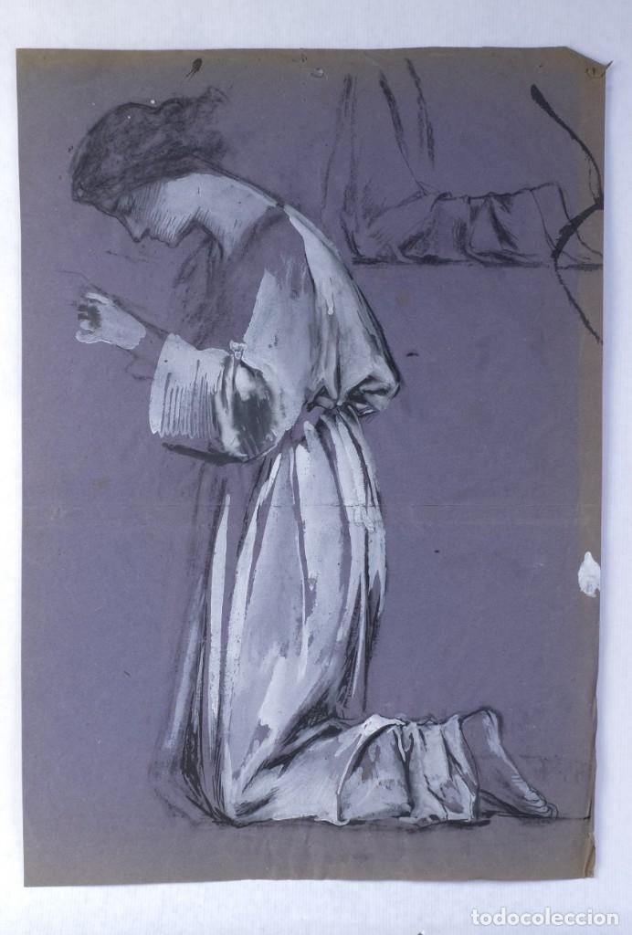 Arte: Gouache sobre papel Mujer orando principios primer tercio siglo XX - Foto 2 - 177650104