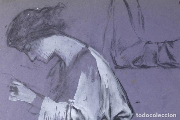 Arte: Gouache sobre papel Mujer orando principios primer tercio siglo XX - Foto 3 - 177650104