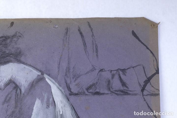 Arte: Gouache sobre papel Mujer orando principios primer tercio siglo XX - Foto 4 - 177650104