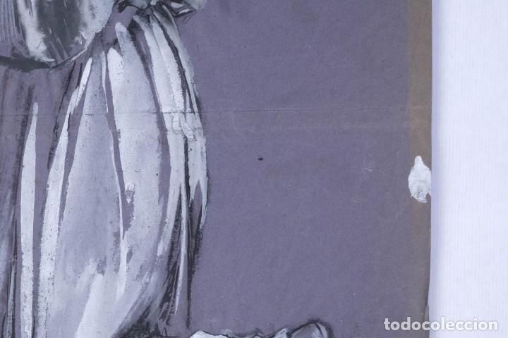 Arte: Gouache sobre papel Mujer orando principios primer tercio siglo XX - Foto 5 - 177650104