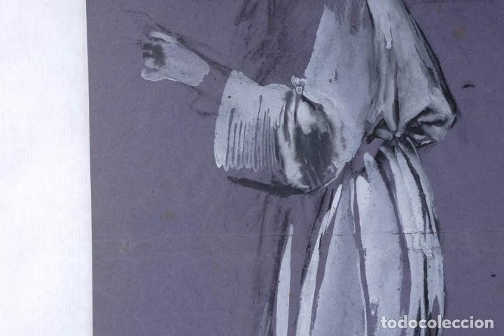 Arte: Gouache sobre papel Mujer orando principios primer tercio siglo XX - Foto 6 - 177650104