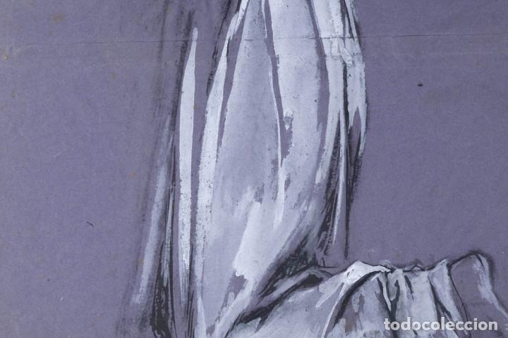 Arte: Gouache sobre papel Mujer orando principios primer tercio siglo XX - Foto 7 - 177650104
