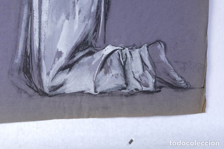 Arte: Gouache sobre papel Mujer orando principios primer tercio siglo XX - Foto 8 - 177650104
