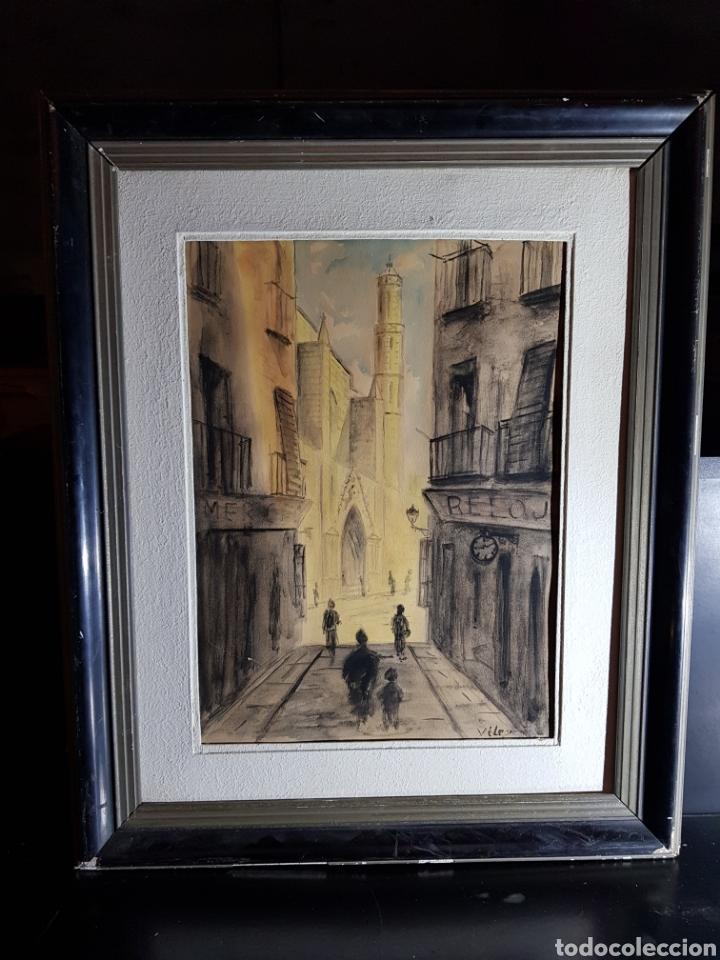 Arte: Acuarela de Calle de Barcelona por Antonio Velez - Foto 2 - 177778968