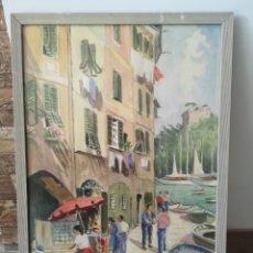 Arte: GUIDO GAGLIARDI (1897-1986) ACUARELA, PORTOFINO, ITALIA, 31X47CM MEDIDA CON MARCO. Lote 177894879
