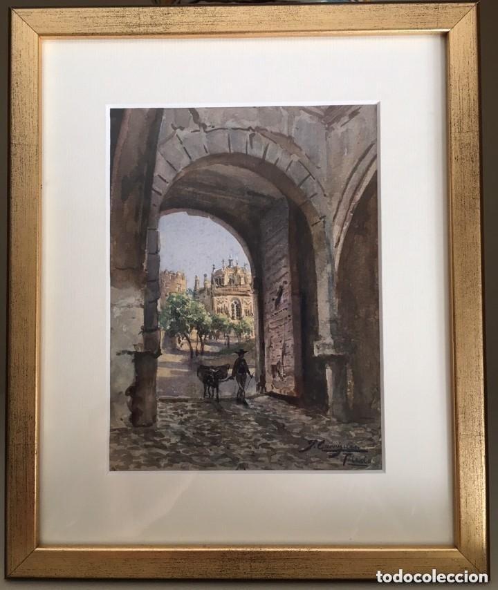 TOLEDO. PUERTA DEL CAMBRÓN. ACUARELA ORIGINAL DE JOSÉ GARRIGUES. (Arte - Acuarelas - Contemporáneas siglo XX)