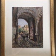Arte: TOLEDO. PUERTA DEL CAMBRÓN. ACUARELA ORIGINAL DE JOSÉ GARRIGUES.. Lote 178034687
