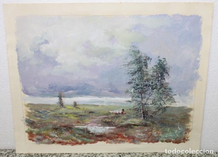 ACUARELA SOBRE PAPEL - PASTORA CON REBAÑO DE OVEJAS - FIRMA ILEGIBLE - SEGUNDA MITAD SIGLO XX (Arte - Acuarelas - Contemporáneas siglo XX)
