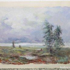 Arte: ACUARELA SOBRE PAPEL - PASTORA CON REBAÑO DE OVEJAS - FIRMA ILEGIBLE - SEGUNDA MITAD SIGLO XX. Lote 178047213