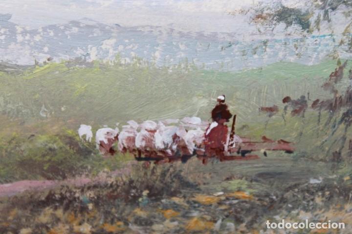 Arte: ACUARELA SOBRE PAPEL - PASTORA CON REBAÑO DE OVEJAS - FIRMA ILEGIBLE - SEGUNDA MITAD SIGLO XX - Foto 2 - 178047213
