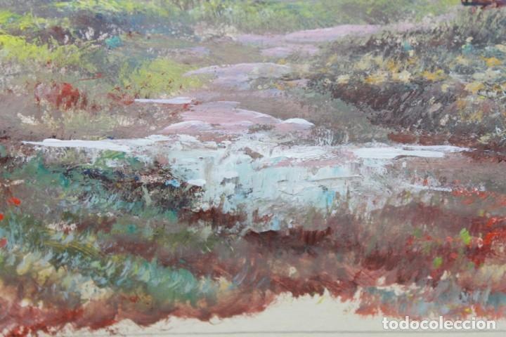 Arte: ACUARELA SOBRE PAPEL - PASTORA CON REBAÑO DE OVEJAS - FIRMA ILEGIBLE - SEGUNDA MITAD SIGLO XX - Foto 5 - 178047213