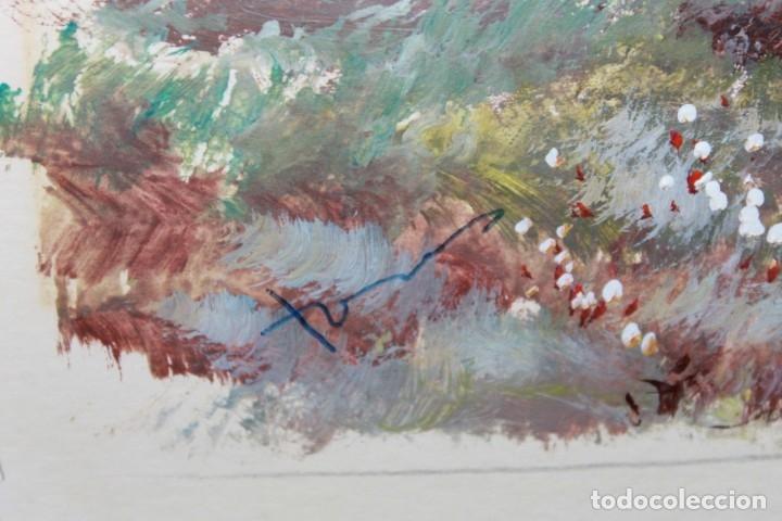 Arte: ACUARELA SOBRE PAPEL - PASTORA CON REBAÑO DE OVEJAS - FIRMA ILEGIBLE - SEGUNDA MITAD SIGLO XX - Foto 6 - 178047213