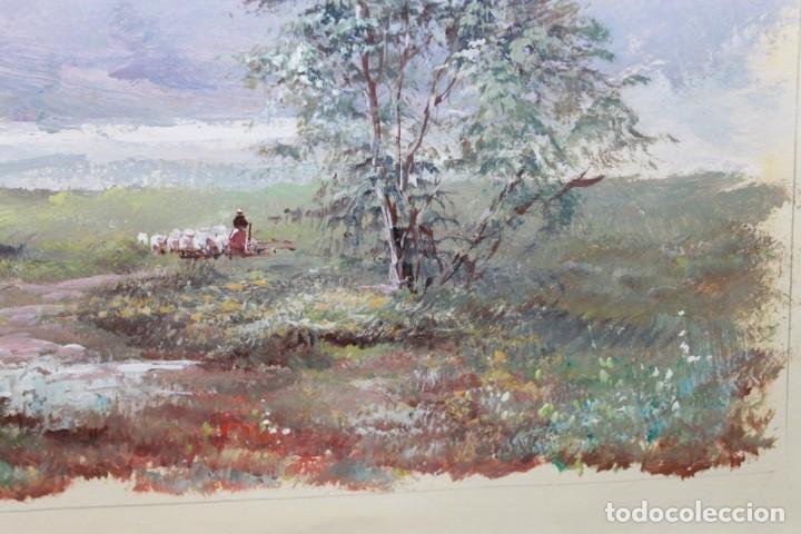 Arte: ACUARELA SOBRE PAPEL - PASTORA CON REBAÑO DE OVEJAS - FIRMA ILEGIBLE - SEGUNDA MITAD SIGLO XX - Foto 7 - 178047213