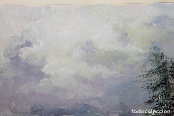 Arte: ACUARELA SOBRE PAPEL - PASTORA CON REBAÑO DE OVEJAS - FIRMA ILEGIBLE - SEGUNDA MITAD SIGLO XX - Foto 8 - 178047213