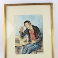 Arte: RAMON JOU SENABRE (1893 - 1978), ACUARELA, BEBEDOR, HOMBRE, MESA Y VASO, FIRMADO, CON MARCO.. Lote 178048645