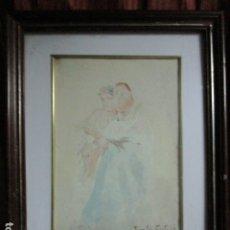 Arte: GASTON CASTELLO BRAVO BOCETO DIBUJO MADRE E HIJO ALGO DETERIORADA. Lote 178076080
