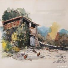 Arte: PERE DANÉS BERGA (OLOT, 1945) - PAISAJE CON GRANJA I GALLINAS.FIRMADO.FECHADO I TITULADO.. Lote 178131277