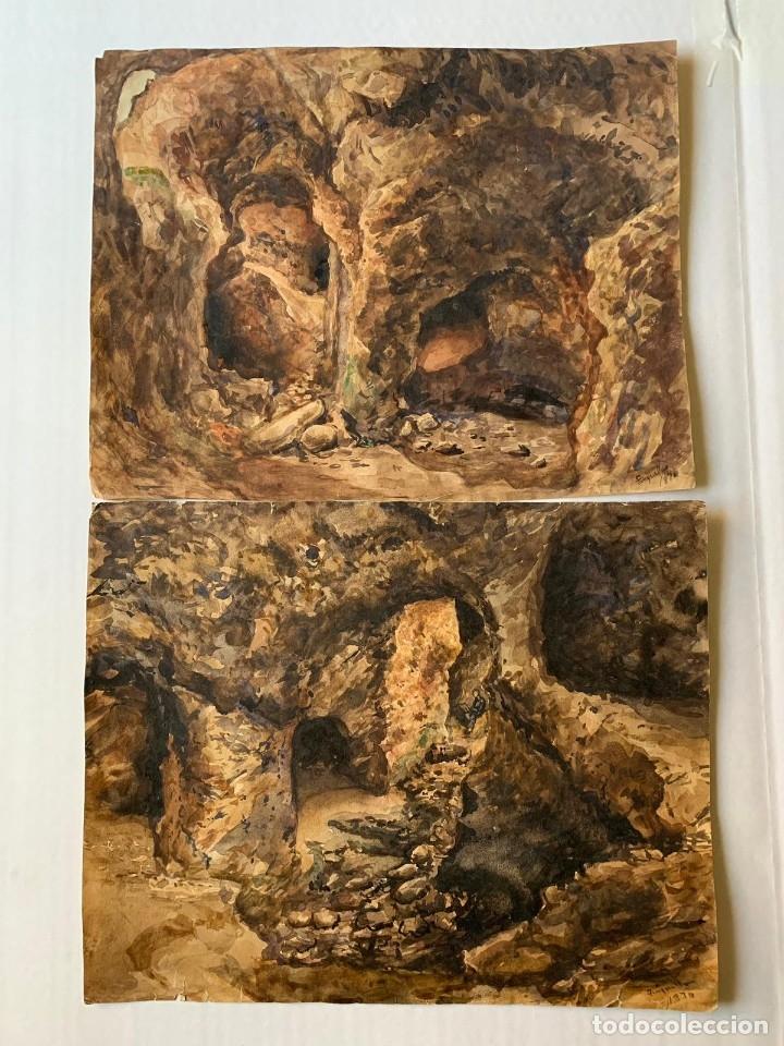 MIQUEL TUSQUELLAS I TARRAGÓ - CUEVAS. PAREJA DE ACUARELAS FIRMADAS Y FECHADAS EL AÑO 1870 (Arte - Acuarelas - Modernas siglo XIX)