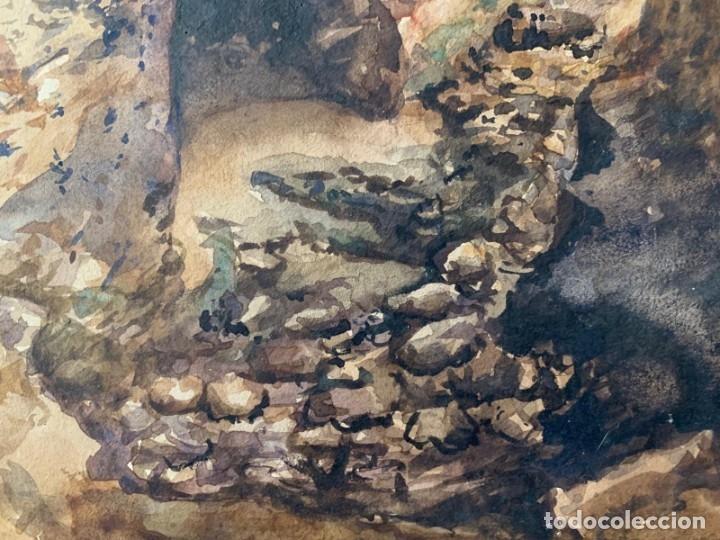 Arte: MIQUEL TUSQUELLAS I TARRAGÓ - CUEVAS. PAREJA DE ACUARELAS FIRMADAS Y FECHADAS EL AÑO 1870 - Foto 3 - 178135308