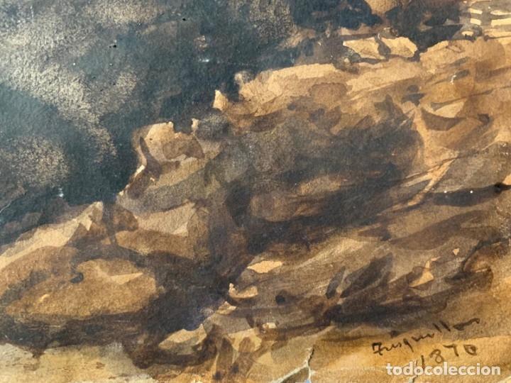 Arte: MIQUEL TUSQUELLAS I TARRAGÓ - CUEVAS. PAREJA DE ACUARELAS FIRMADAS Y FECHADAS EL AÑO 1870 - Foto 4 - 178135308