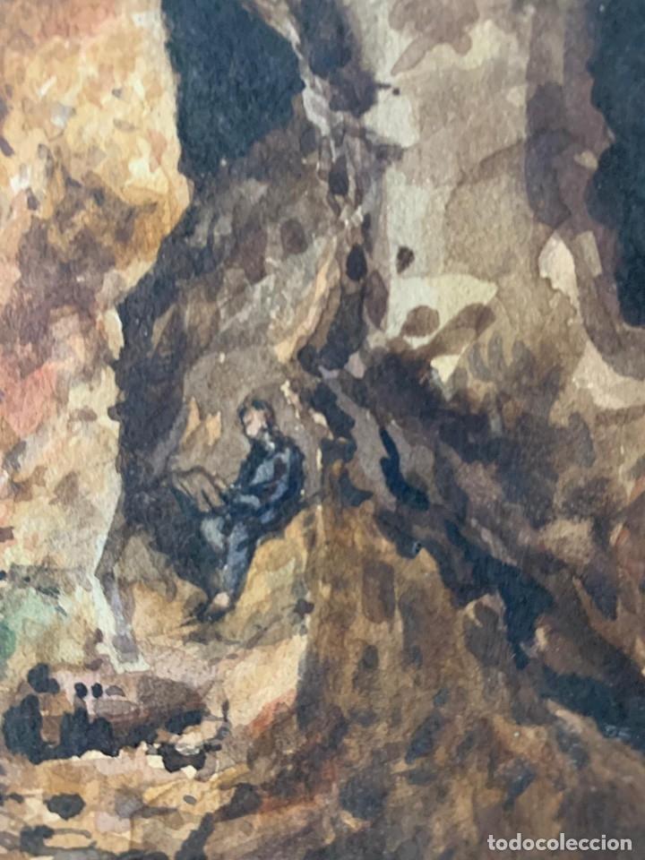 Arte: MIQUEL TUSQUELLAS I TARRAGÓ - CUEVAS. PAREJA DE ACUARELAS FIRMADAS Y FECHADAS EL AÑO 1870 - Foto 5 - 178135308