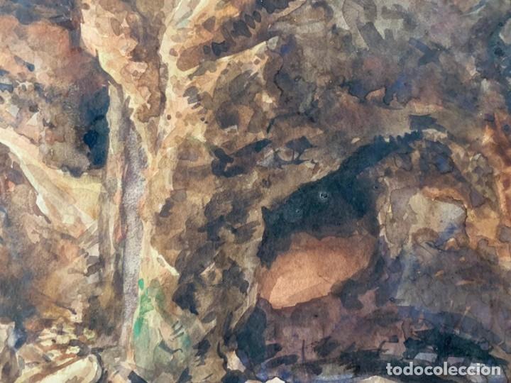 Arte: MIQUEL TUSQUELLAS I TARRAGÓ - CUEVAS. PAREJA DE ACUARELAS FIRMADAS Y FECHADAS EL AÑO 1870 - Foto 6 - 178135308
