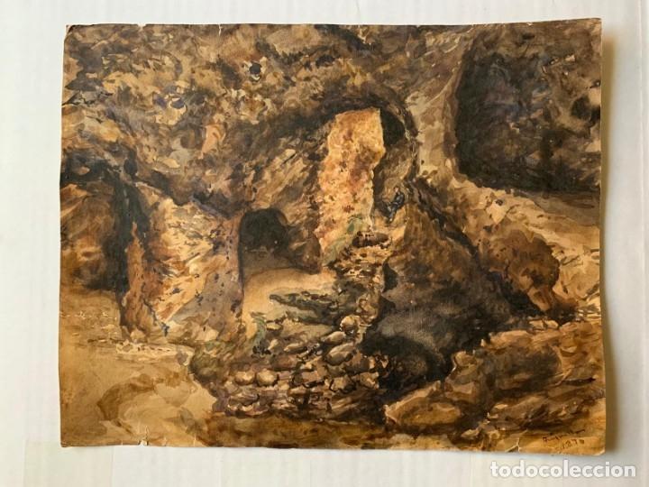 Arte: MIQUEL TUSQUELLAS I TARRAGÓ - CUEVAS. PAREJA DE ACUARELAS FIRMADAS Y FECHADAS EL AÑO 1870 - Foto 7 - 178135308