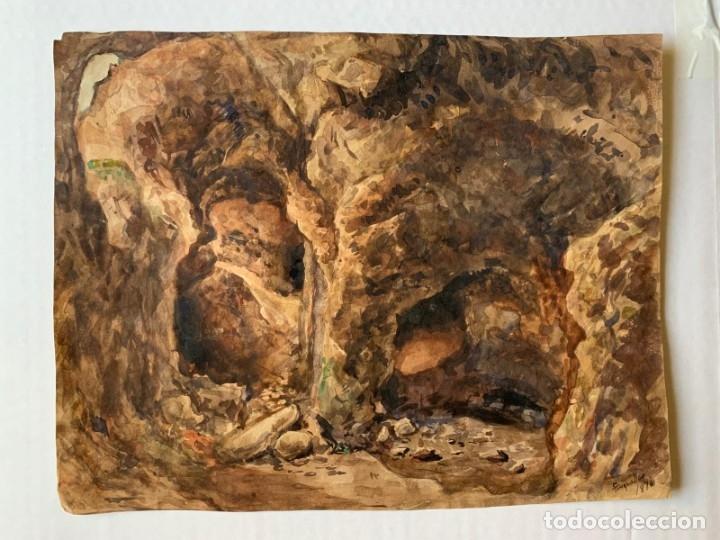 Arte: MIQUEL TUSQUELLAS I TARRAGÓ - CUEVAS. PAREJA DE ACUARELAS FIRMADAS Y FECHADAS EL AÑO 1870 - Foto 8 - 178135308