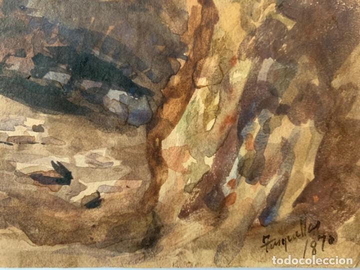 Arte: MIQUEL TUSQUELLAS I TARRAGÓ - CUEVAS. PAREJA DE ACUARELAS FIRMADAS Y FECHADAS EL AÑO 1870 - Foto 9 - 178135308