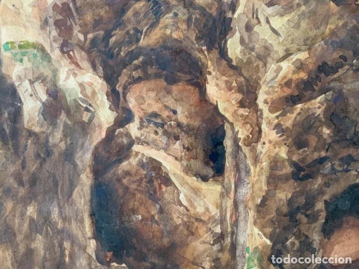 Arte: MIQUEL TUSQUELLAS I TARRAGÓ - CUEVAS. PAREJA DE ACUARELAS FIRMADAS Y FECHADAS EL AÑO 1870 - Foto 10 - 178135308