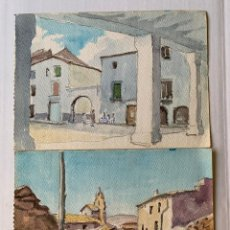 Arte: ADOLFO GENOVART BAYO - PAREJA DE ACUARELAS. Lote 178139314