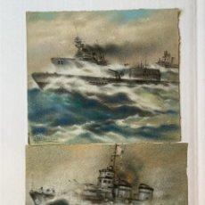 Arte: J. DALMAU, JOAQUIN DALMAU OLIVER - BARCOS DE GUERRA. PAREJA DE ACUARELAS. Lote 178140613