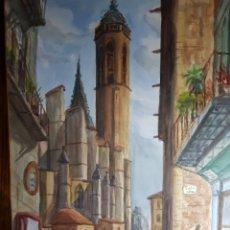 Arte: ACUARELA CATEDRAL DE BARCELONA SOBRE CARTULINA POR J. VILLENA. Lote 178172265
