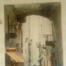 Arte: DIAZ CALLE CON ARCO ACUARELA.. Lote 178226423
