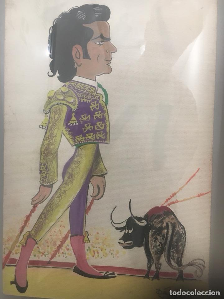 Arte: Oportunidad. Pareja acuarelas toreros Paquirri y Antoñete. Firmado Jose Luis Dávila - Foto 2 - 178299611