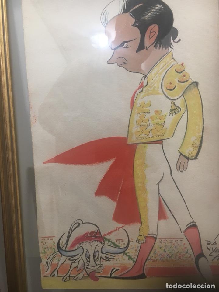 Arte: Oportunidad. Pareja acuarelas toreros Paquirri y Antoñete. Firmado Jose Luis Dávila - Foto 3 - 178299611